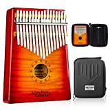 GECKO Kalimba 17 Keys Thumb Piano with Hardshell Case Study Instruction Tuning Hammer Portable Wood Finger Piano Birthday Gifts for Kids Adult Beginners Professional