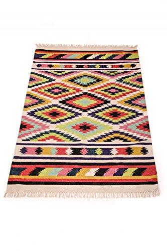 Orientalischer Indischer Handgewebter Orient Wohnzimmer Teppich Kelim Deger Gross - 100{e81dae7ee4e458f9168714e364a071513094a76c7e377a3528e88fe92a2f7817} Baumwolle 150x240cm