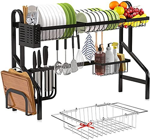 Dish Drying Rack Over Sink Adjustable,Tsmine 2 Tier Stainless Steel Kitchen Dish Rack,Large Dish Rack Drainer for Kitchen Organizer Storage Space Saver with Extra Expandable Dish Drainer