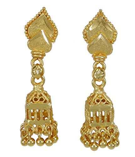 Banithani, set di orecchini etnici indiani tradizionali placcati in oro Jhumka da donna
