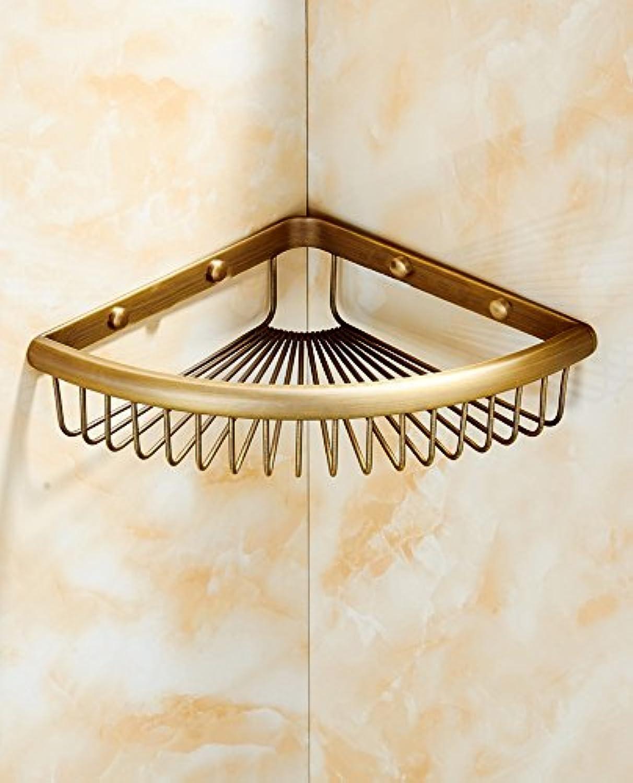 Bathroom with single-storey triangular frame green copper-bronze shelf basket