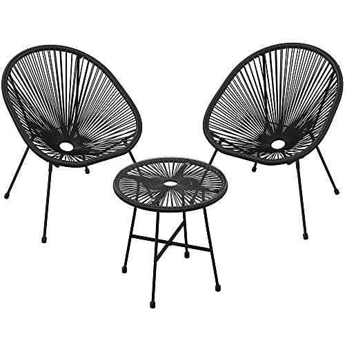 SONGMICS Gartenmöbel-Set, 3er-Set,Garten-Sitzgruppe,Lounge-Set aus Polyrattan, Tisch mit Glasplatte und 2 Stühle,Innen-undAußenbereich,schwarzGGF013B01