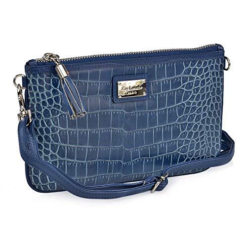 Estuche Doble Regalo para Mujer Monedero Billetero + Bolso pequeño de Mano P.U. Coco Guy Laroche 300 (Azul)
