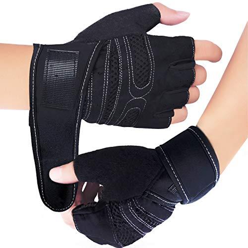 Fitness Handschuhe, Trainingshandschuhe, Gewichtheben Handschuhe für Damen und Herren - Ideal für Fitness, Gewichtheben, Radfahren und allgemeines Work-Out (M, Schwarz)
