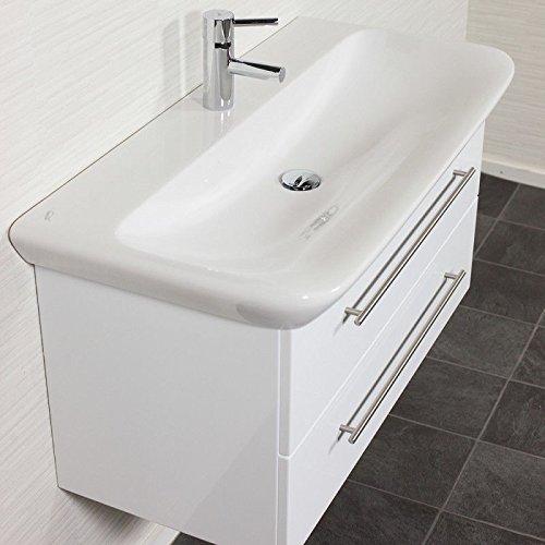 Badezimmer Waschtisch mit Unterschrank in weiß Hochglanz 100cm KERAMAG Keramik-Waschbecken