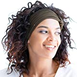 BLOM Original Multi Style Headband. Wear Wide Turban Thick Knotted. For Women Yoga Fashion Workout Running Athletic Travel. Comfort Stretch Versatility. Dark Olive