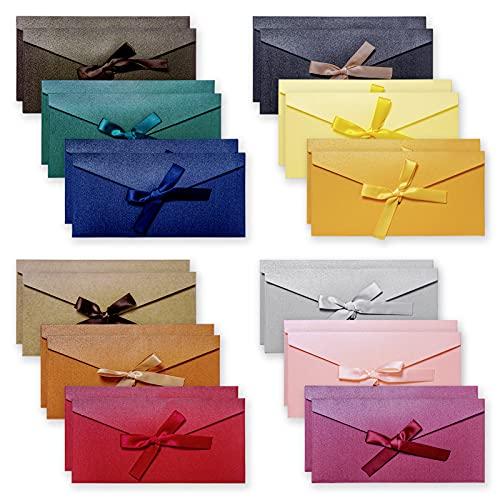 24 sobres de colores, sobres de papel kraft vintage con cintas de colores para invitaciones hechas a mano, tarjetas de boda o festival (12 colores)