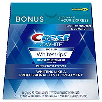 Crest 3D White Professional Effects Whitestrips Dental Teeth Whitening Strips Kit 20 Treatments + BONUS 1 Hour Express Whitening Strips 2 Treatments