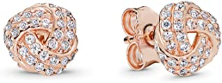 PANDORA Jewelry - Shimmering Knot Stud Earrings for Women in PANDORA Rose and Sterling Silver with Clear Cubic Zirconia