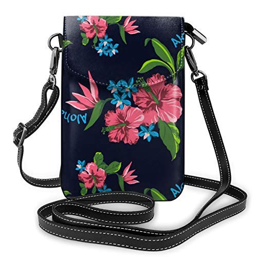 XCNGG Fashion Crossbody Cell Phone Purse - Hawaiian State Flower Pattern Print - Women PU Leather smart phone Shoulder Pouch Handbag with Adjustable Strap