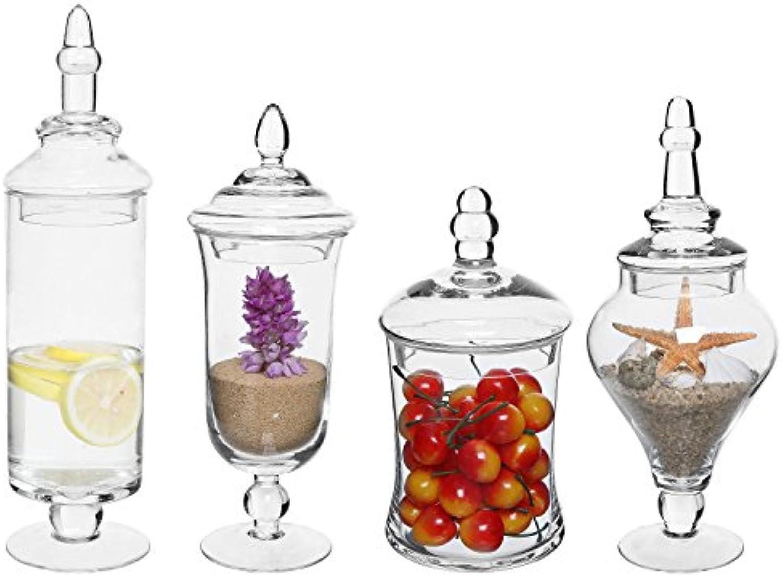 Set von 4klar Glas Apotheker Weckglser Hochzeit Candy Servieren Kanister Dekorative Aufbewahrung Flaschen Set