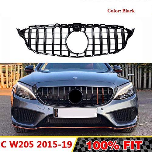HYNB Hoge kwaliteit radiator grille Auto grille Voorbumper grille Voor Mercedes Benz W205 Voor AMG Look C200 C250 C300 C350 2015-2018 Zonder embleem, Zilver, Zwart