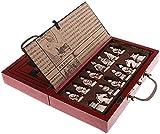 BINBAOSS Vintage Chinos Guerreros de Terracota 32 Juego de ajedrez de la Tabla de Madera Juegos de ajedrez Regalo