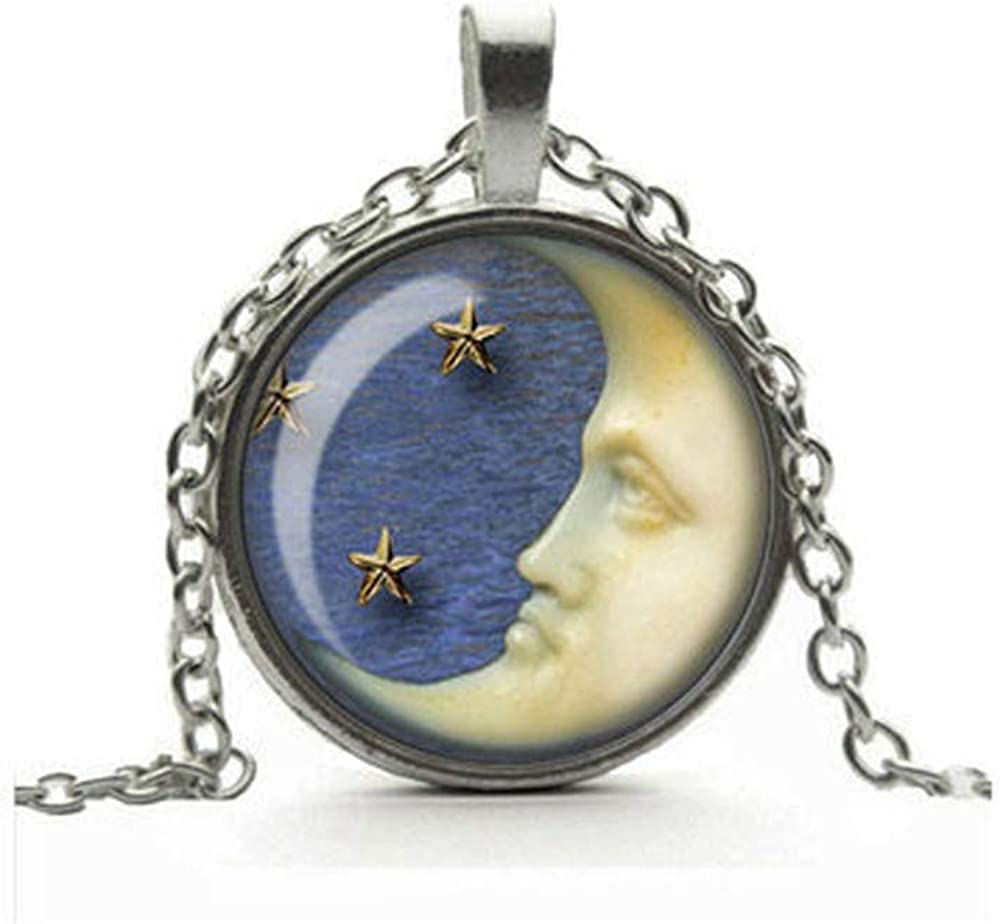 Dandelion Crescent Moon Necklace, Moon and Stars Pendant, Moon Jewelry, Glass Cameo Cabochon Tile Necklace, Handmade Jewellery, Gift for Her