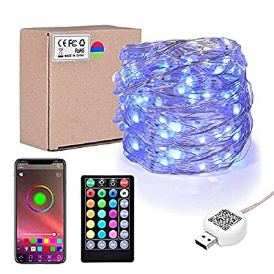 Weetoo LED Indoor String Lights, 120LED 46FT Waterproof Fairy String Lights with Music Sync, App Control, Color Changing and Timer for Indoor Outdoor Decor