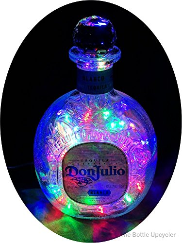Upcycled Don Julio Blanco Tequila Mood Therapy Liquor Bottle Light w/100 Multi-Color LED's Topped Off with an Asfour 30% Leaded Clear Crystal Prism Ball