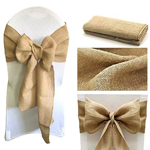 "Events N Fabrics Burlap Chair Bow Vintage Hessian Sashes Ribbon for Chair Décor for Wedding Reception Home Garden Party Decoration (7 ""x 108"") 10 Stück Natürlich"