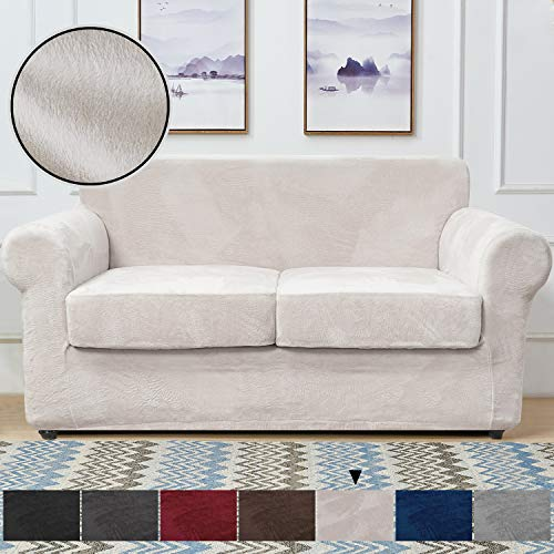 RHF Velvet Couch Cover 3 Piece Couch Covers for 2 Cushion Couch Sofa Covers for 2 Cushion Couch Loveseat Cover Couch Covers for Loveseat with 2 Separate Cushion Cover(Loveseat,Beige)