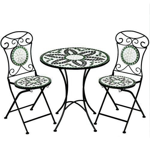 Deuba Salon de Jardin FLORALIS mosaique - 1 Table et 2 chaises Pliables - Balcon terrasse Interieur
