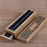 Mayco Bell Quemador de incienso de bambú con cajón Joss-Stick Caja hueca para aromaterapia Zen incensario para el hogar, la oficina, casa de té (beige)