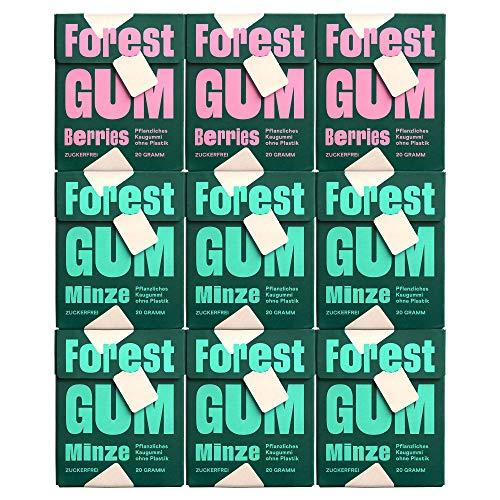 FOREST GUM Berries und Minze im Probierset | Plastikfreies Kaugummi mit Minz- und Beeren-Geschmack | Pflanzliche Zutaten | ohne Zucker | Vegan | 6 x 20 g Minze + 3 x 20 g Berries