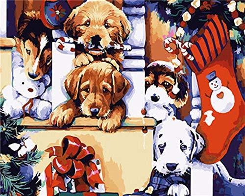 KSKD Peinture par numéros pour adultes enfants toile de lin bricolage peinture numérique par numéros kits toile Chien animal peint- 16x20 pouces avec cadre