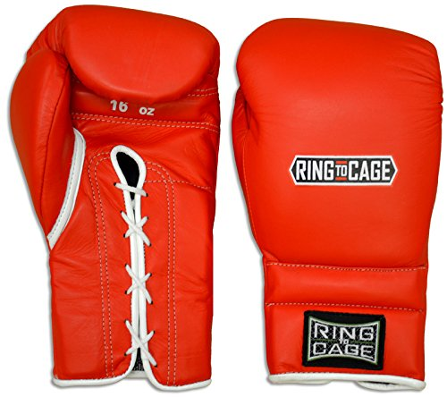 Japanese Style Training Boxing Gloves 2.0 - Hook&Loop or Lace-Up - 12oz, 14oz, 16oz, 18oz - 9 Colors to Choose (Red, 16oz Lace-up)
