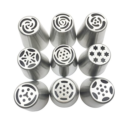 NEW Russian Tulip Tips Stainless Steel Icing Piping Nozzles Pastry Decorating Tips Cake Cupcake Decorator icing dispenser (9 Piece lot)