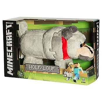 JINX Minecraft Wolf Plush Stuffed Toy Gray 15  Long with Display Box
