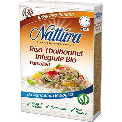 Nattura für Ihr tägliches Wohlbefinden Bio-Vollkorn-Thaibonnet-Reis Fertig in 8 Minuten Phosphorreich - 1 x 400 Gramm