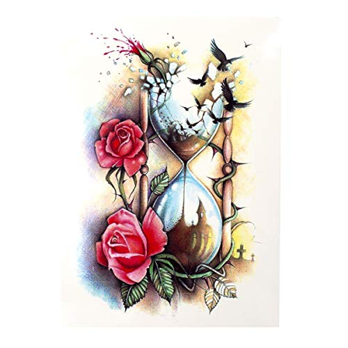 1 x Sanduhr + Vögel + Rose Körpertattoo - Buntes XL temporäres Tattoo HB509 (1)
