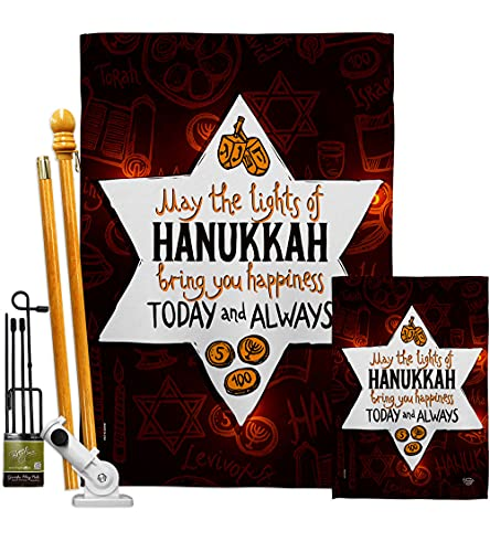 Ornament Collection Lights of Hanukkah Garden House Flag Kit Winter Candle Bonsai Menorah Jewish Chanukah David Decoration Banner Small Yard Gift Double-Sided, Made in USA
