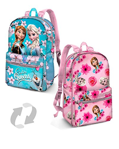 Karactermania Frozen Sister Queens-Reversible 2-in-1 Backpack (Small) Zainetto per bambini, 31 cm, 7.5 liters, Blu (Blue)