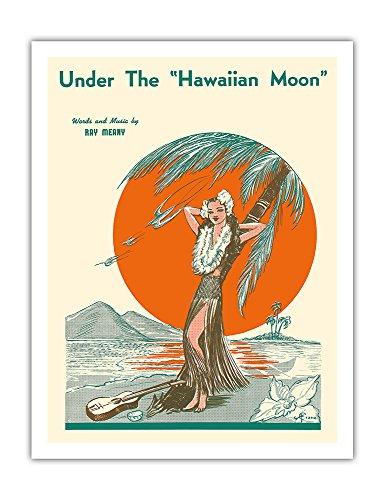 Pacifica Island Art Bajo la Luna de Hawai-Partitura del Vintage de la grúa c.1938-Fine Art Print-20in x 26in