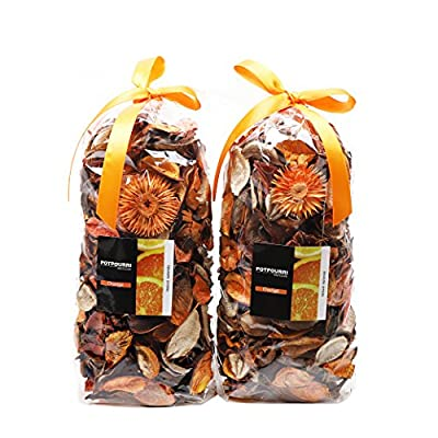 Qingbei Rina Gifts Orange Fresh Potpourri Bag Home Fragrance Perfume Sachet of Petal,Bowl and Vase Decorative Filler,2 Bags, 240g, Suitable for Filling a 83 Fluid-Oz Bowl (Orange)