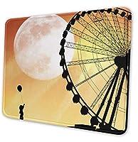 ゲーミングマウスパッド-ウルフハウリング長方形ラバーマウスパッド-10X12インチX0.12 ''(3mm厚)ギフトサポート用マウスマット有線ワイヤレスまたはBluetoothマウス-FerrisWheel-7x8.6in