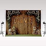 Kate Foto de Madera Telón de Fondo 2.2x1.5m Fotografía Floral Blanca Señal de luz de Amor para el Día de San Valentín Primavera y Verano Decoración al Aire Libre