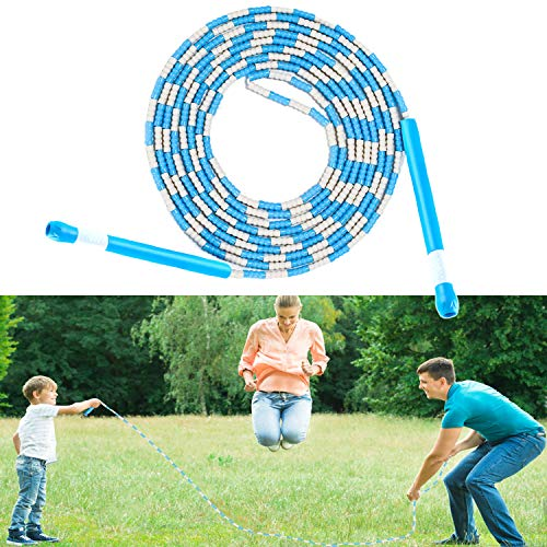 Double Dutch Jump Ropes Beaded Long Skipping Rope Durable Soft for Game Skipping Rope Multiplayer Group Rope-16ft-22.9ft-32ft-49ft-for School, Company, Fun Games,Agility Play,Great Family Fun-3 Meters