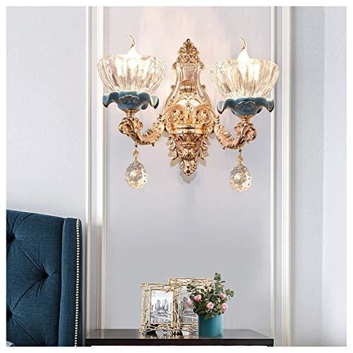 GJNWRQCY wandlamp met dubbele kop in Europese stijl, voor woonkamer, achterwand, slaapkamer, bed, hotel, gangwandlamp, kristallen wandlamp
