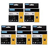 AOJE Compatible Label Tape Replacement for DYMO Industrial Flexible Nylon Labels Rhino 18489, 3/4 Inch x 11.5 Feet Black on White A18489 Work with Dymo Labelwriter 450 & Rhino Label Makers, 5-Pack
