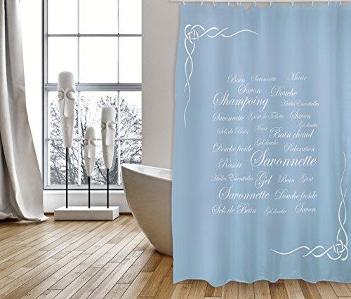 """MSV Cotexsa by Premium Anti-Schimmel Textil Duschvorhang - Anti-Bakteriell, waschbar, 100prozent wasserdicht, mit 12 Duschvorhangringen - Polyester, """"Grasse"""" weiß blau 180x200cm – Made in Spain"""