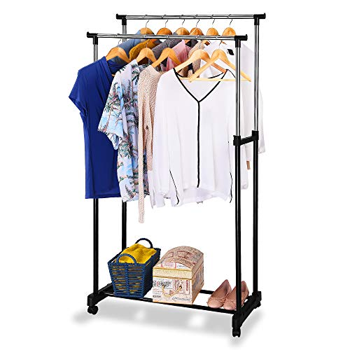 EVELYN LIVING Heavy Duty Garment Rack on Wheels Adjustable Tidy Clothes Rail Hanger Drying Coat Hanging Mobile Storage Clothing Stand (Double)