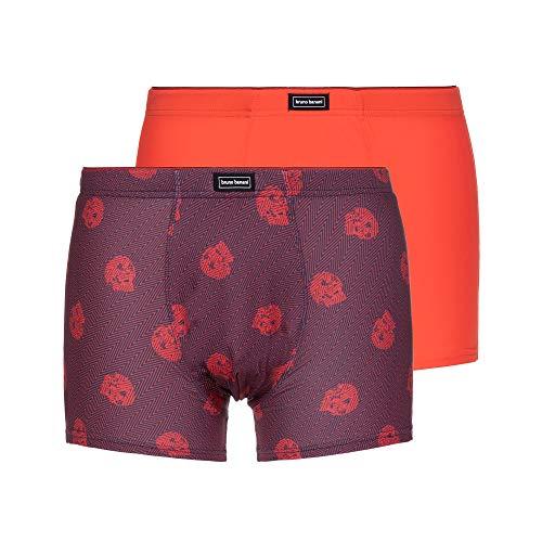 bruno banani Herren Short 2er Pack Relic Edition Boxershorts, Rot (Orangerot/Schwarz Print//Orangerot 2776), Medium (Herstellergröße: M)
