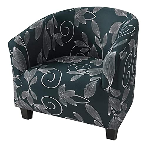 Dolity Soft Velvet Tub Chair Covers Club Chair Slipcover Furniture Protector for Bar Counter Living Room - Blue Leaves Prints