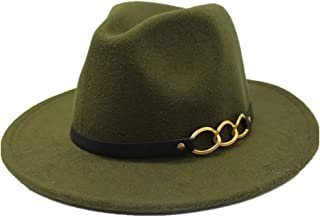 Fashion Sun Hat for Fedora Men Women Hat Wool Leather Bandwidth Metal Chain Fedora Top Jazz Hat European American Hat Suitable for hot Weather Season (Color : Green, Size : 56-58CM)