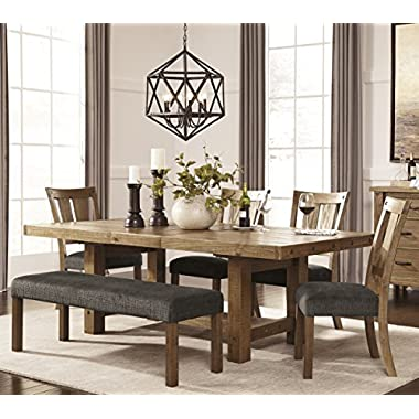 Tarmilr Casual Brown Color Rectangular Dining Room Set, Table, 4 Chairs And Bench