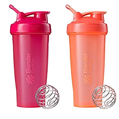Blender Bottle Classic Loop Top Shaker Bottle, All Pink and Coral, 28-Ounce 2-Pack