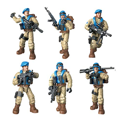 DRAKE18 6 in 1 Action Figures Special Forces Soldiers Toys Army Military Models Assembling Playsets Set Educational Toys with Weapons & Accessories (1:36)