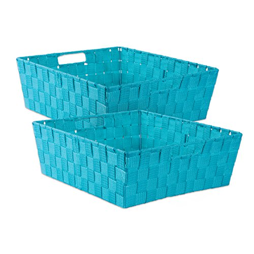 DII 5893 Durable Trapezoid Woven Nylon Storage Bin or Basket for Organizing Your Home, Office, or Closets (Tray - 13x15x5) Teal - Set of 2