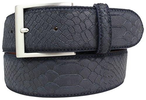 Gürtel mit Pythonprägung 4,0 cm | Leder-Gürtel für Damen Herren 40mm Schlangen-Optik |Schlangen-Muster Python-Muster | Marine 85cm